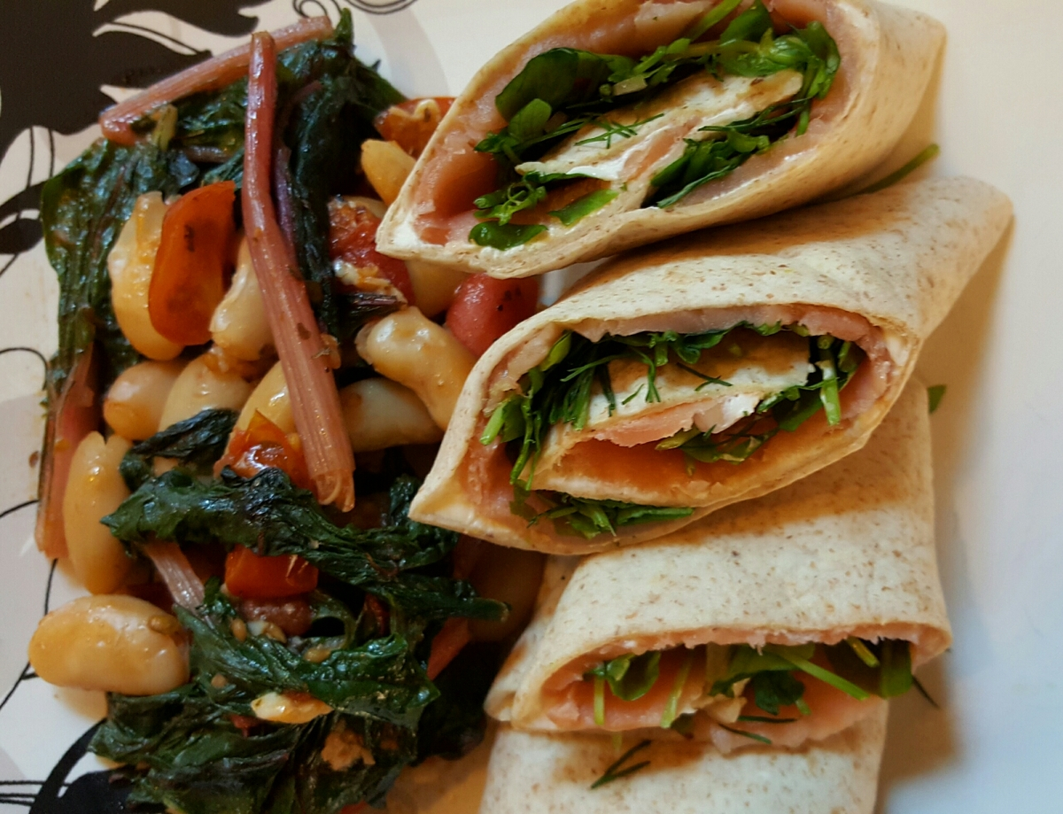 Meal Prep Monday: Smoked Salmon Wraps and White Bean Stew with Swiss Chard and Tomatoes